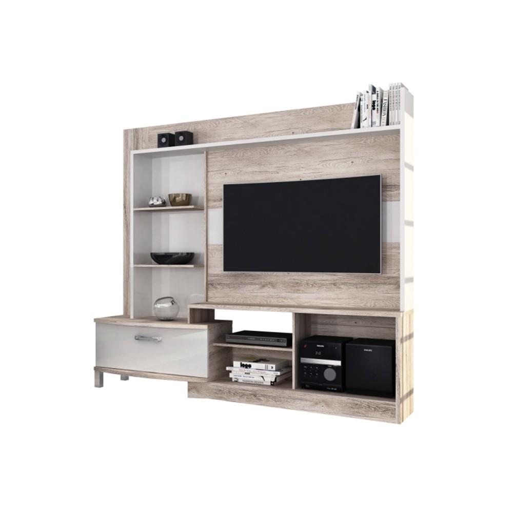 Home Theater Para Tv New Lavínia Castanha Rústico com Branco Brilho - Colibri