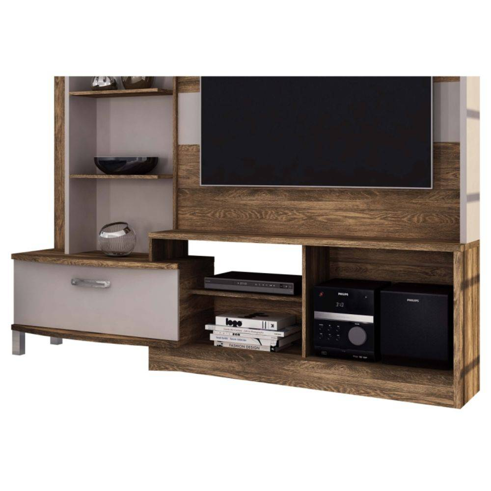 Home Theater Para Tv New Lavínia Castanha Rústico com Dunas Fosco - Colibri