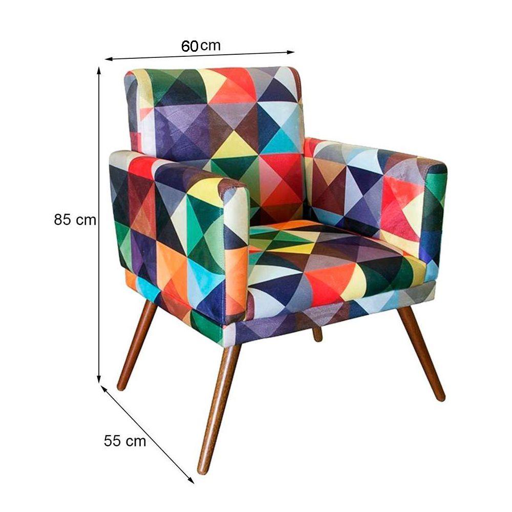 Poltrona Decorativa Pés Palito Nina Com Rodapé Suede Triangulo - DS Móveis