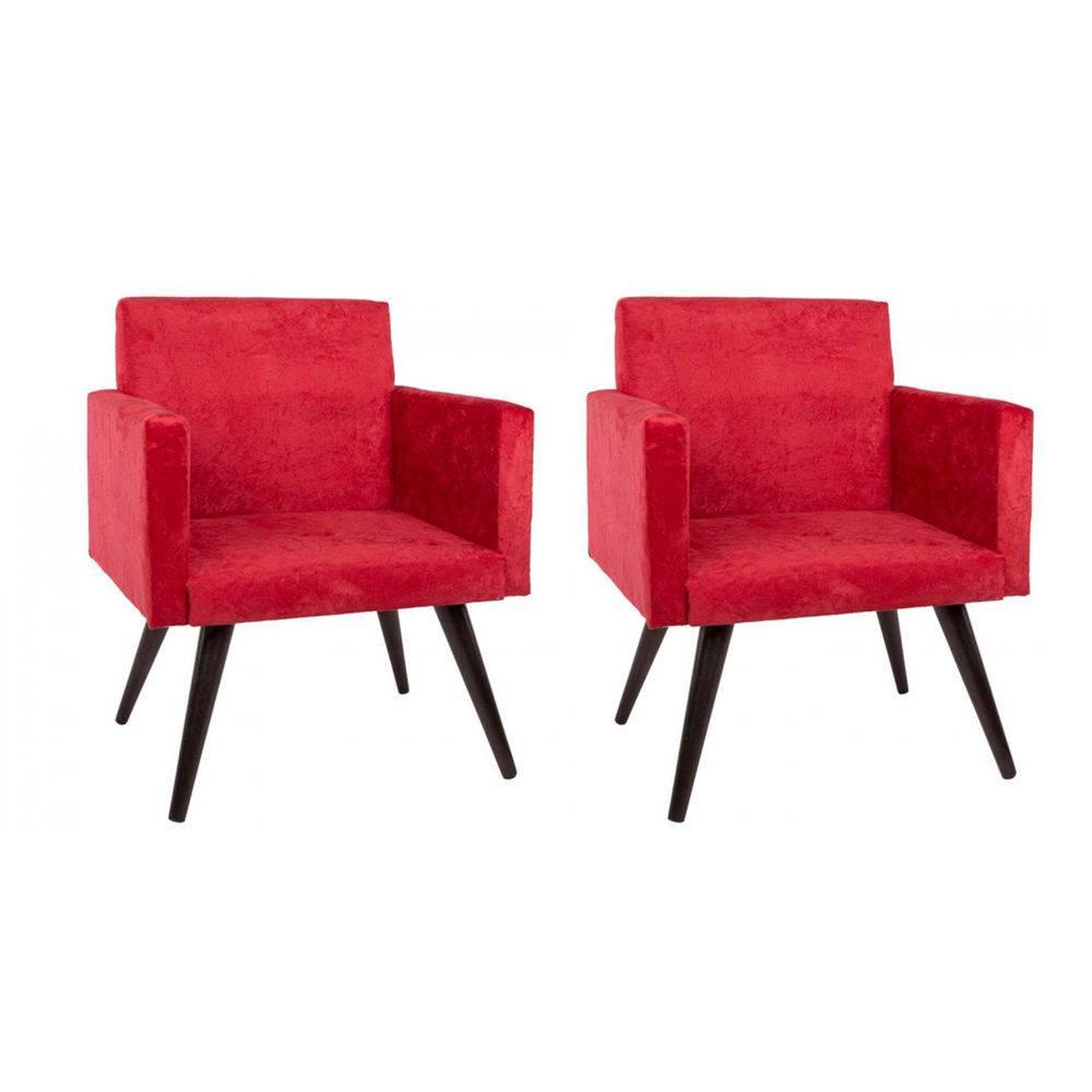 Kit 2 Poltronas Decorativa Suede Pés Palito Vermelha Mobile