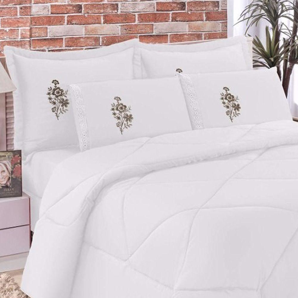Kit Edredom Casal King Confort 06 Peças - Branco