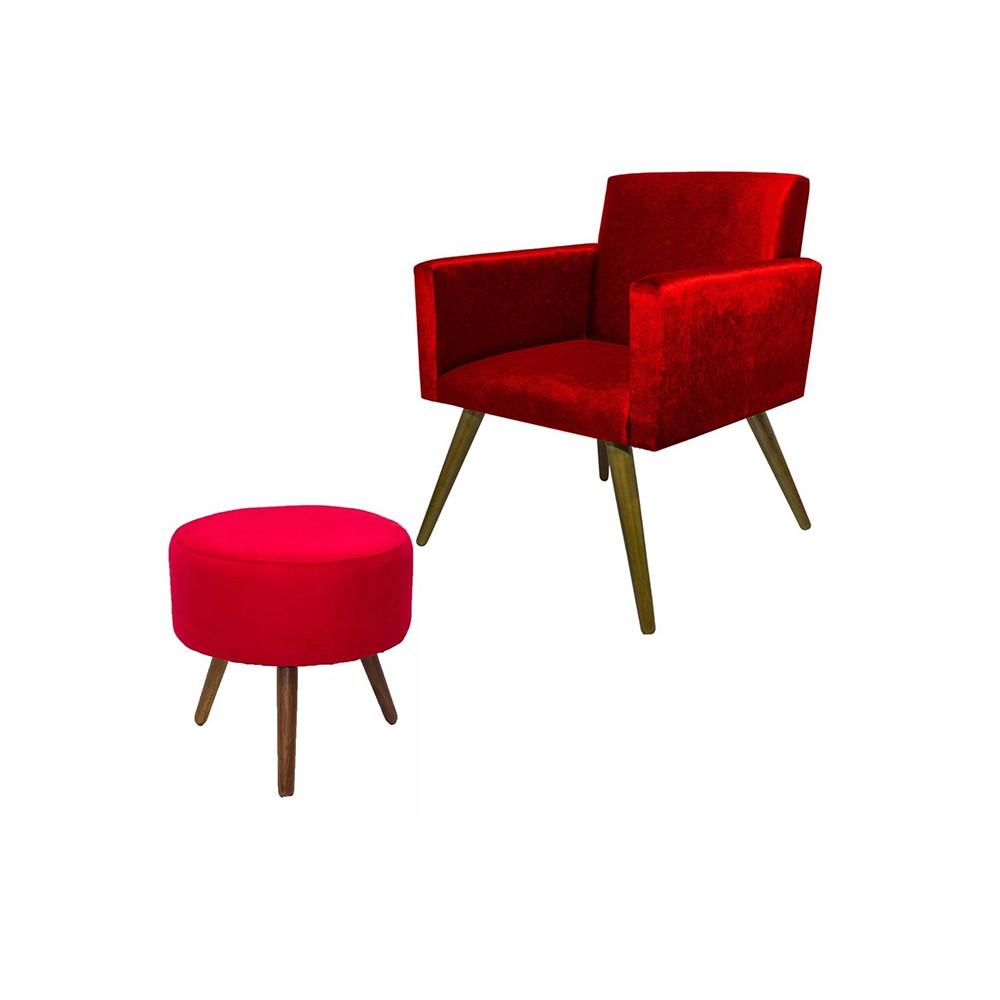 Kit Poltrona Decorativa Nina Mais Puff Redondo Suede Vermelho - DS Móveis