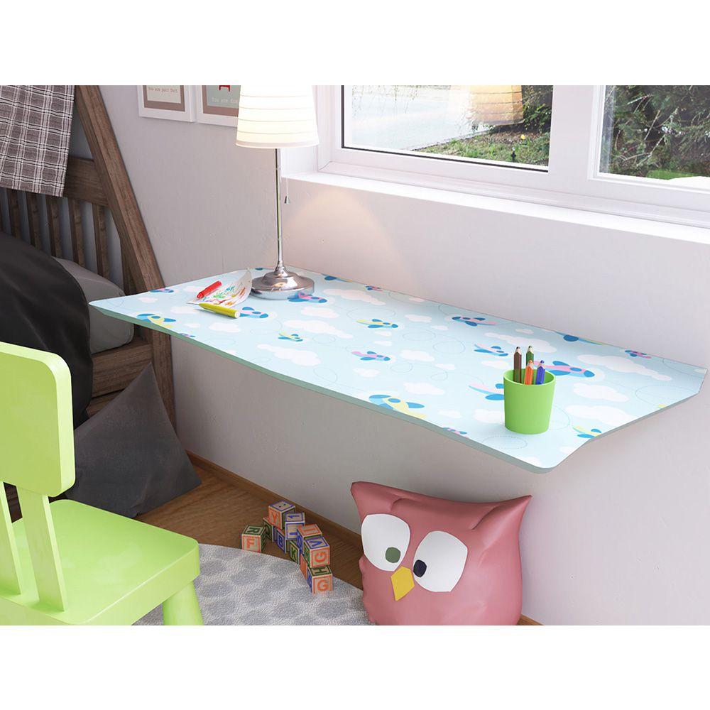 Mesa de Parede Dobrável com Cadeira em MDF Kids 70 cm - Aviões