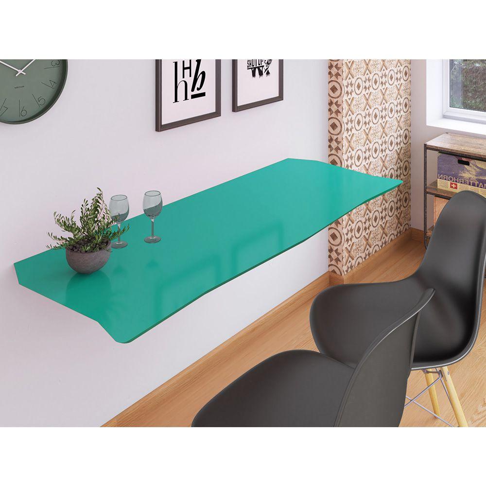 Mesa de Parede Dobrável em MDF Pratice 130 cm - Turquesa