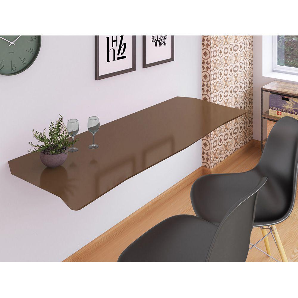 Mesa de Parede Dobrável em MDF Pratice 90 cm - Toffee