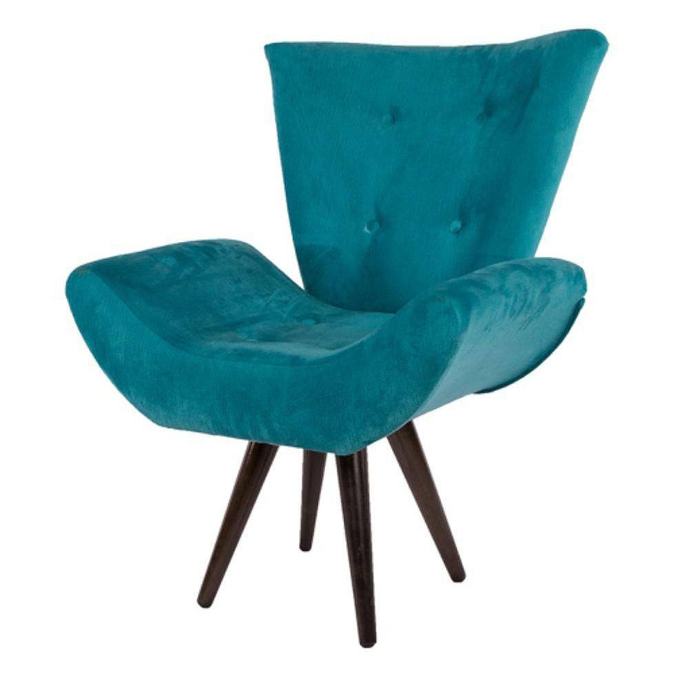 Poltrona Decorativa Emília Pés Tabaco Suede Azul Turquesa - DS Móveis