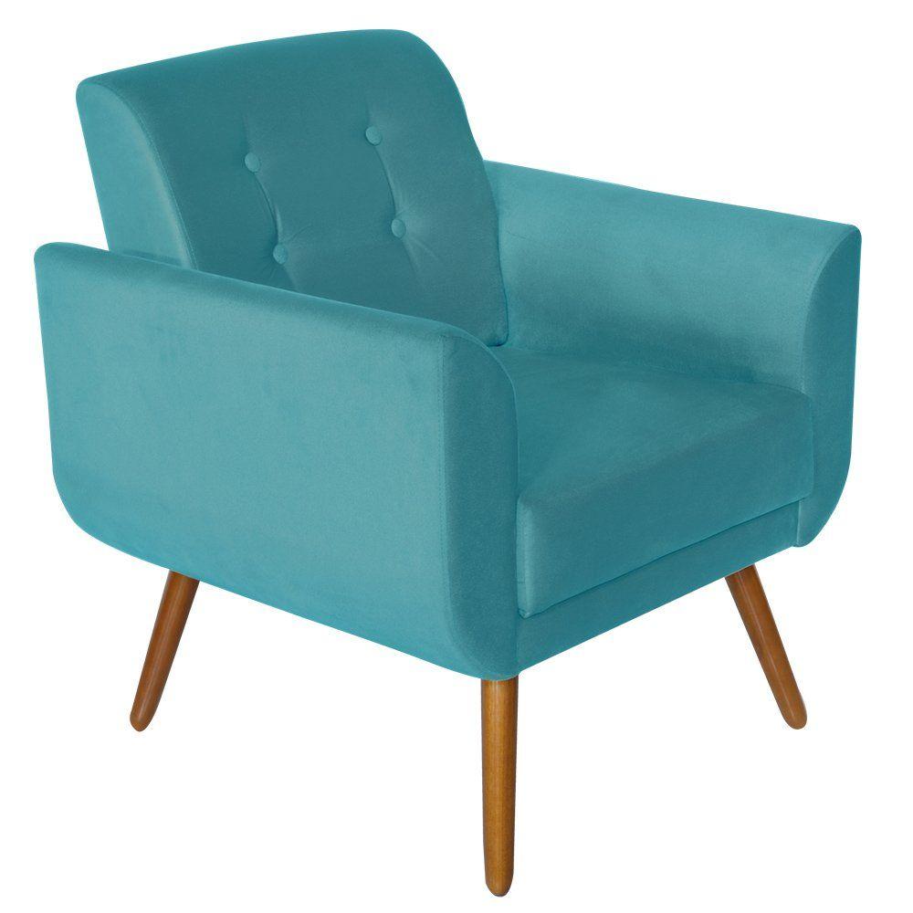 Poltrona Decorativa Pés Palito Agata Suede Azul - Kasa Sofá