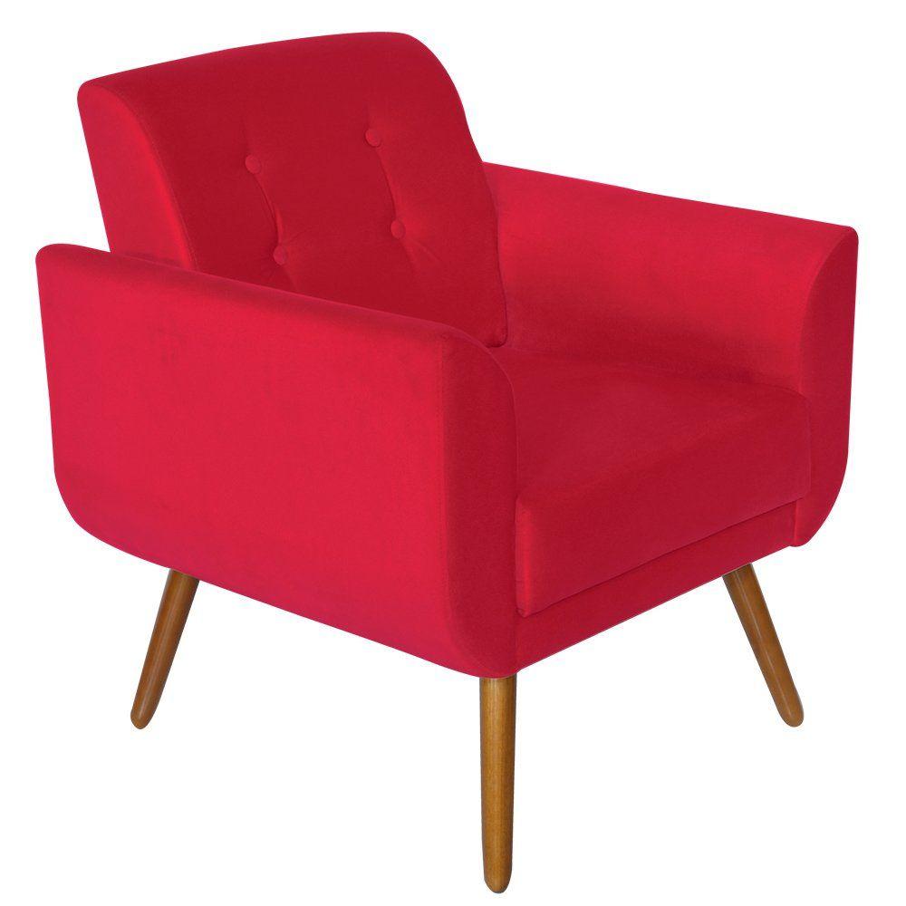 Poltrona Decorativa Pés Palito Agata Suede Vermelho - Kasa Sofá