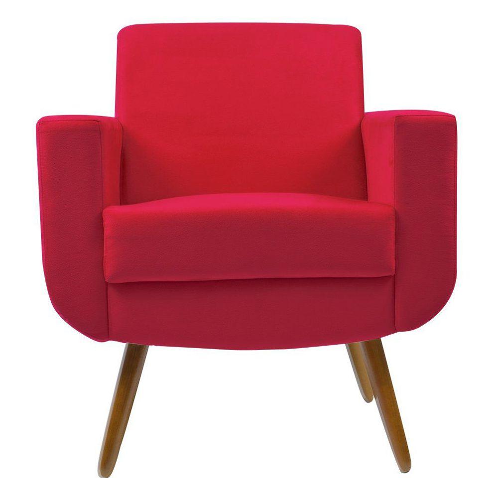 Poltrona Decorativa Pés Palito Cristal Suede Vermelho - Kasa Sofá
