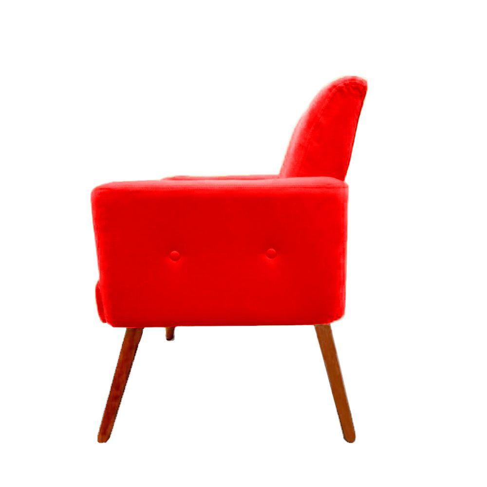 Poltrona Decorativa Pés Palito Nina Plus Suede Vermelho - DS Móveis
