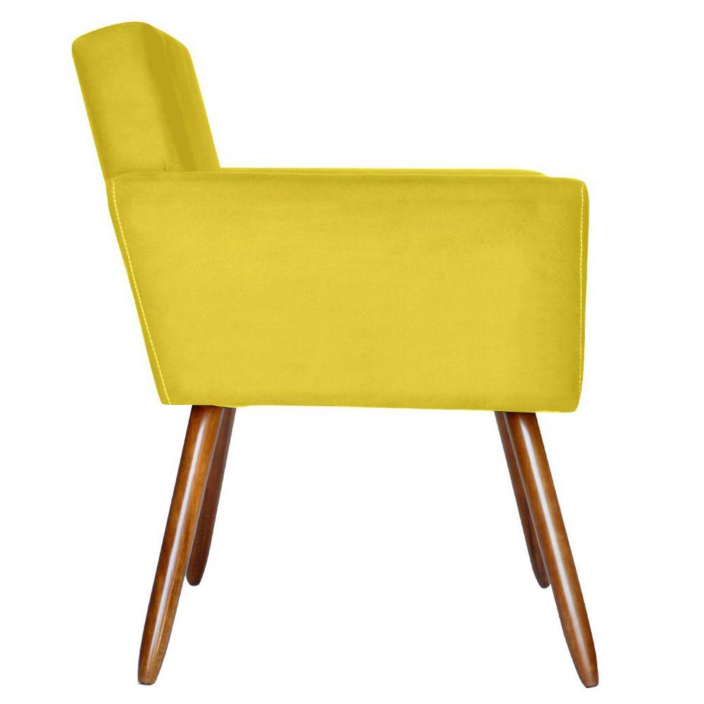 Poltrona Decorativa Pés Palito Vitoria Suede Amarela - Kasa Sofá