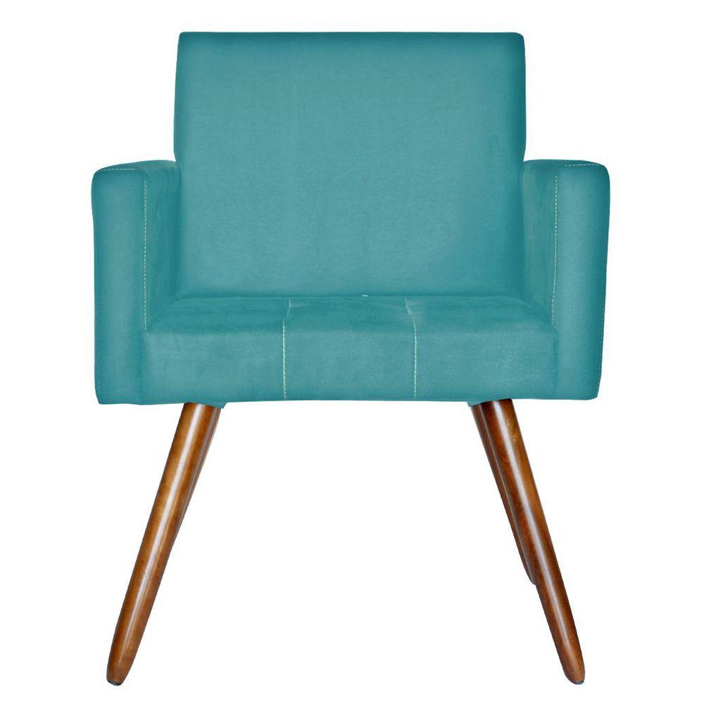Poltrona Decorativa Pés Palito Vitoria Suede Azul - Kasa Sofá