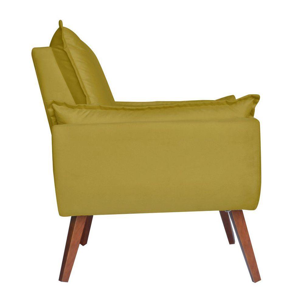 Poltrona Decorativa Pés Trapézio Opala Suede Amarelo - Kasa Sofá