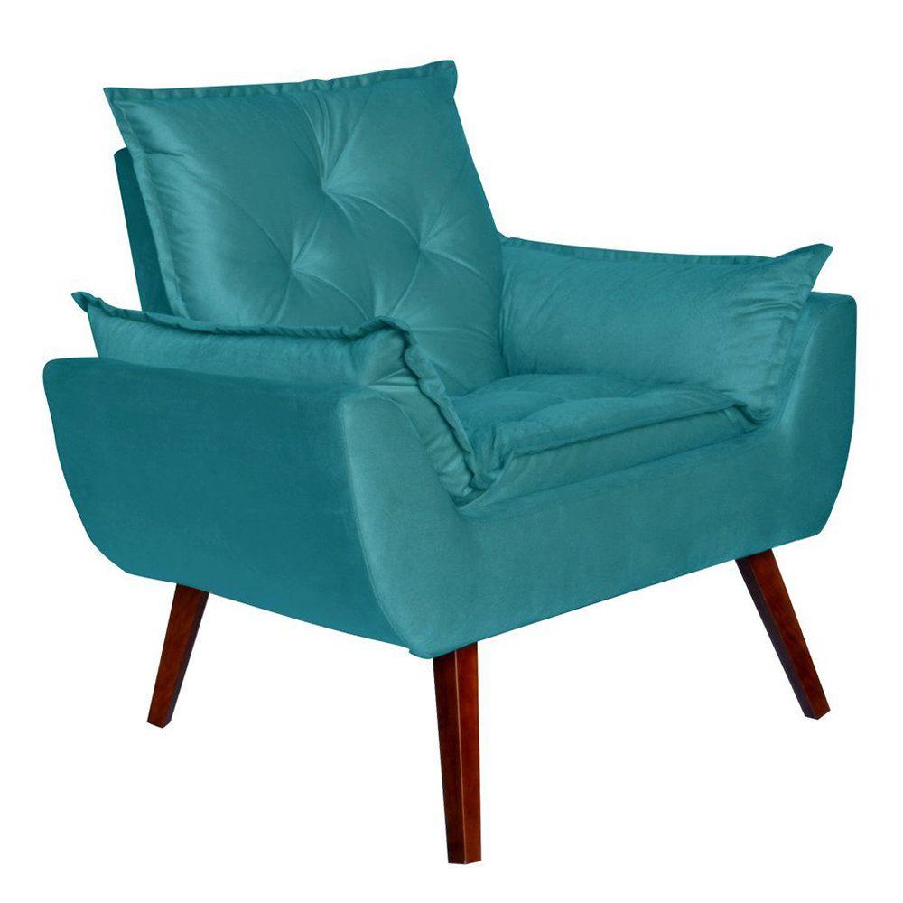 Poltrona Decorativa Pés Trapézio Opala Suede Azul - Kasa Sofá