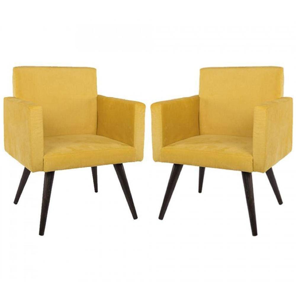 Poltrona Decorativa Suede Amarelo 2 Peças Mobile