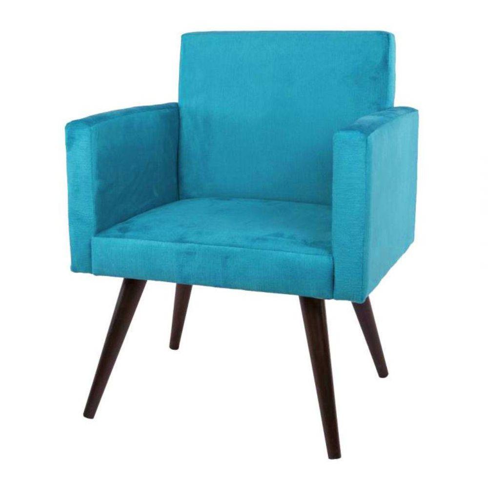 Poltrona Decorativa Suede Azul 2 Peças Mobile