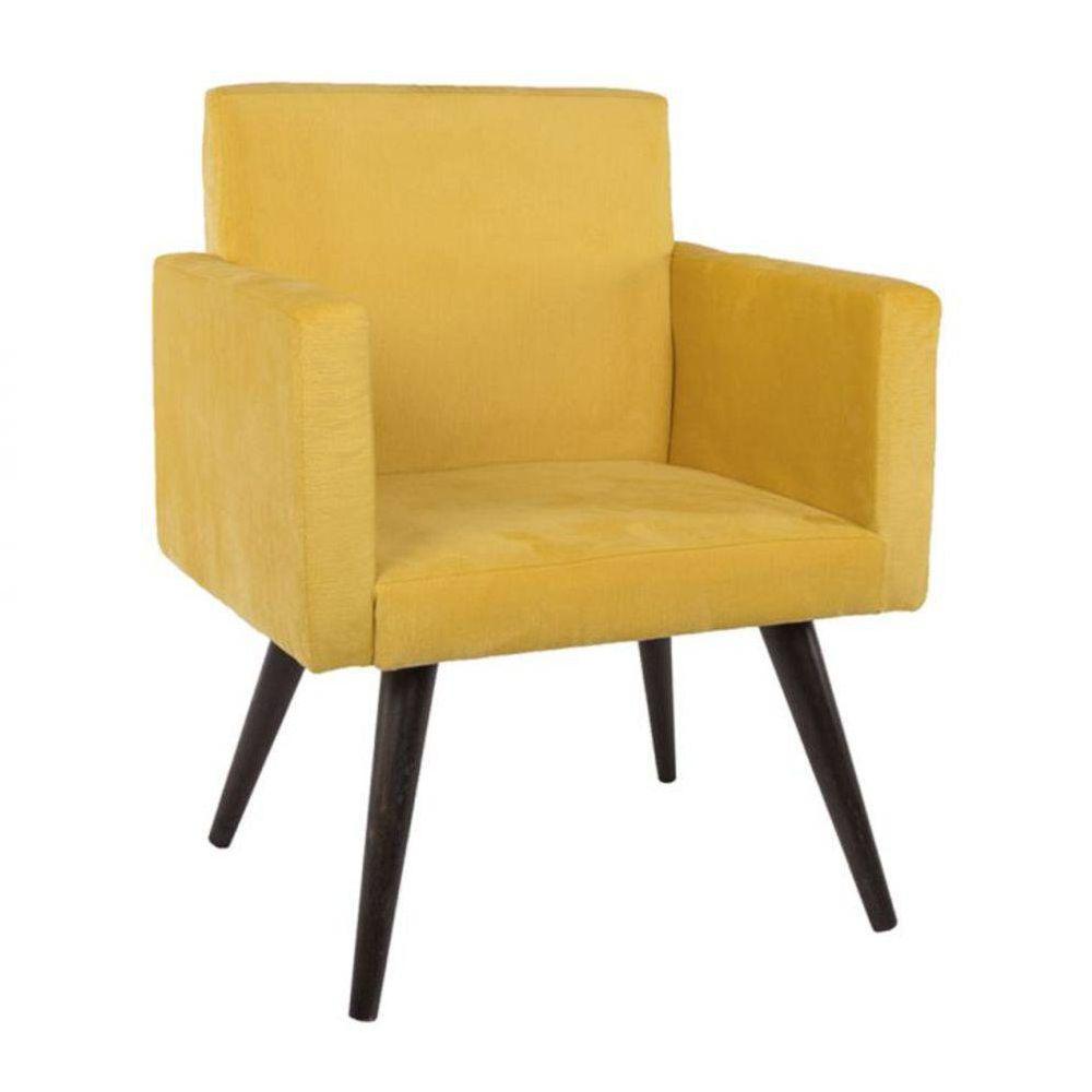 Poltrona Decorativa Suede Pés Palito Amarela Mobile
