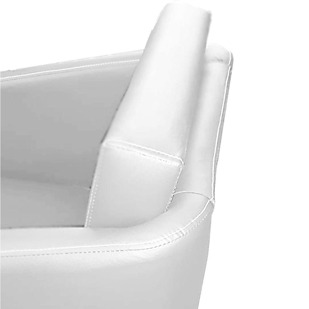Poltrona Decorativa Tilla Plus Pés Cromado Corino Branco - DS Móveis