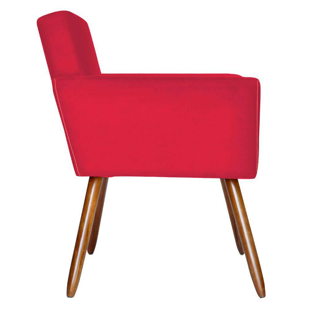 Poltrona Decorativa Pés Palito Vitoria Suede Vermelho - Kasa Sofá