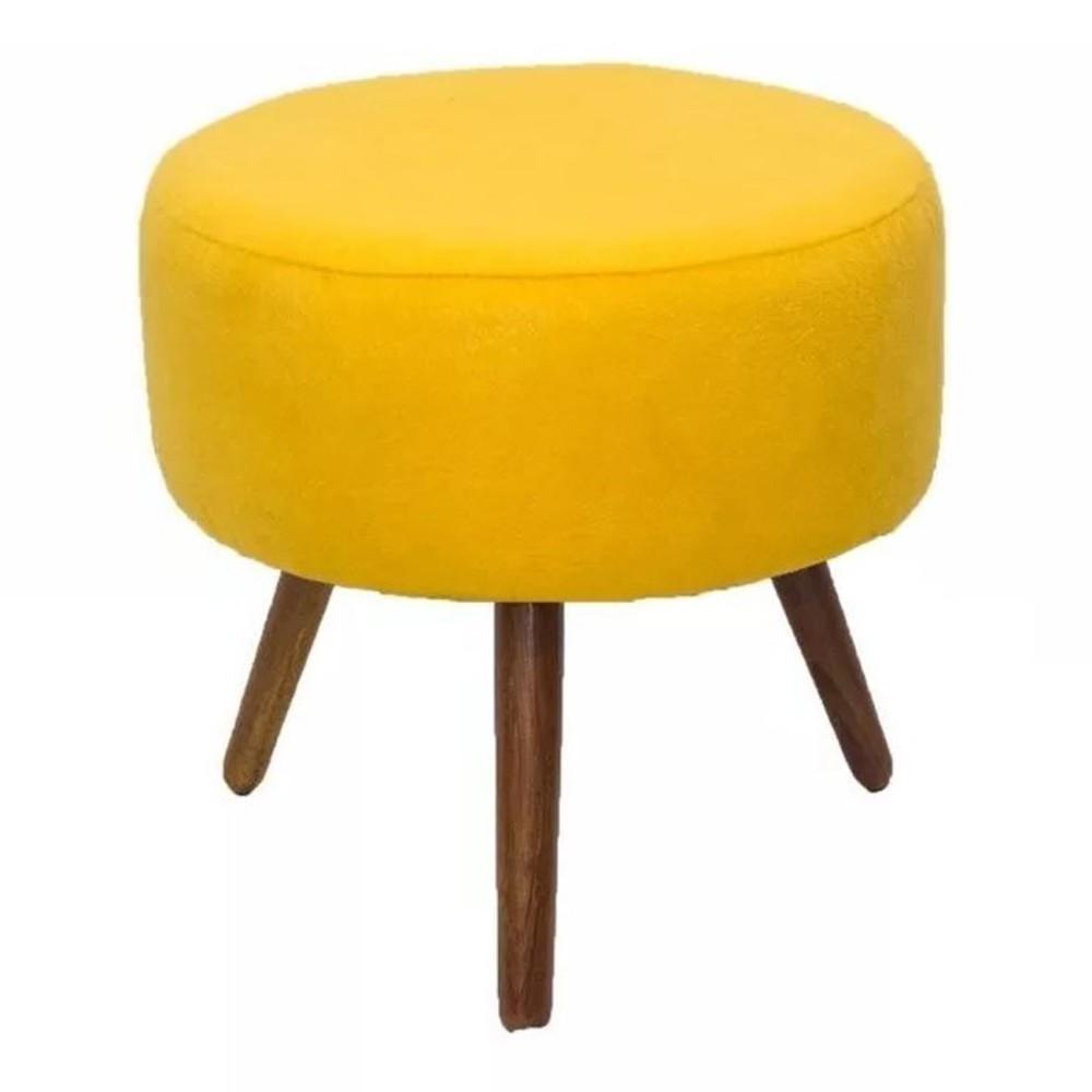 Puff Banqueta Redondo Classic Suede Amarelo - DS Móveis