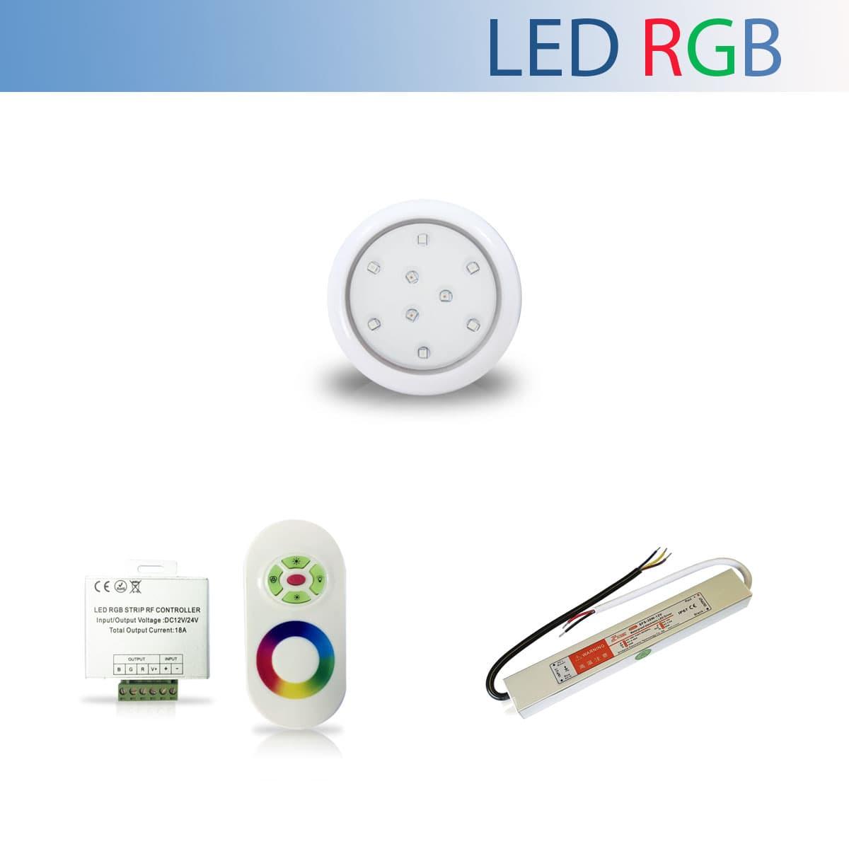 Kit 1 Luminária Led RGB para Piscina de 9W 80mm + Fonte Blindada IP67 de 36W + Controle RGB