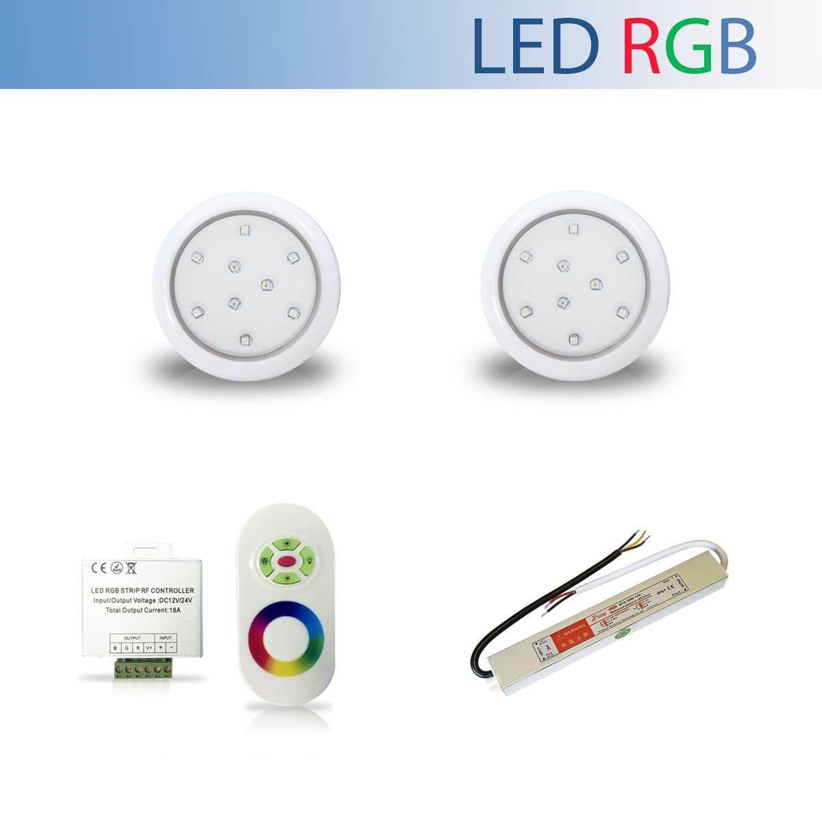 Kit 2 Luminária Led RGB para Piscina de 9W 80mm + Fonte Blindada IP67 de 36W + Controle RGB