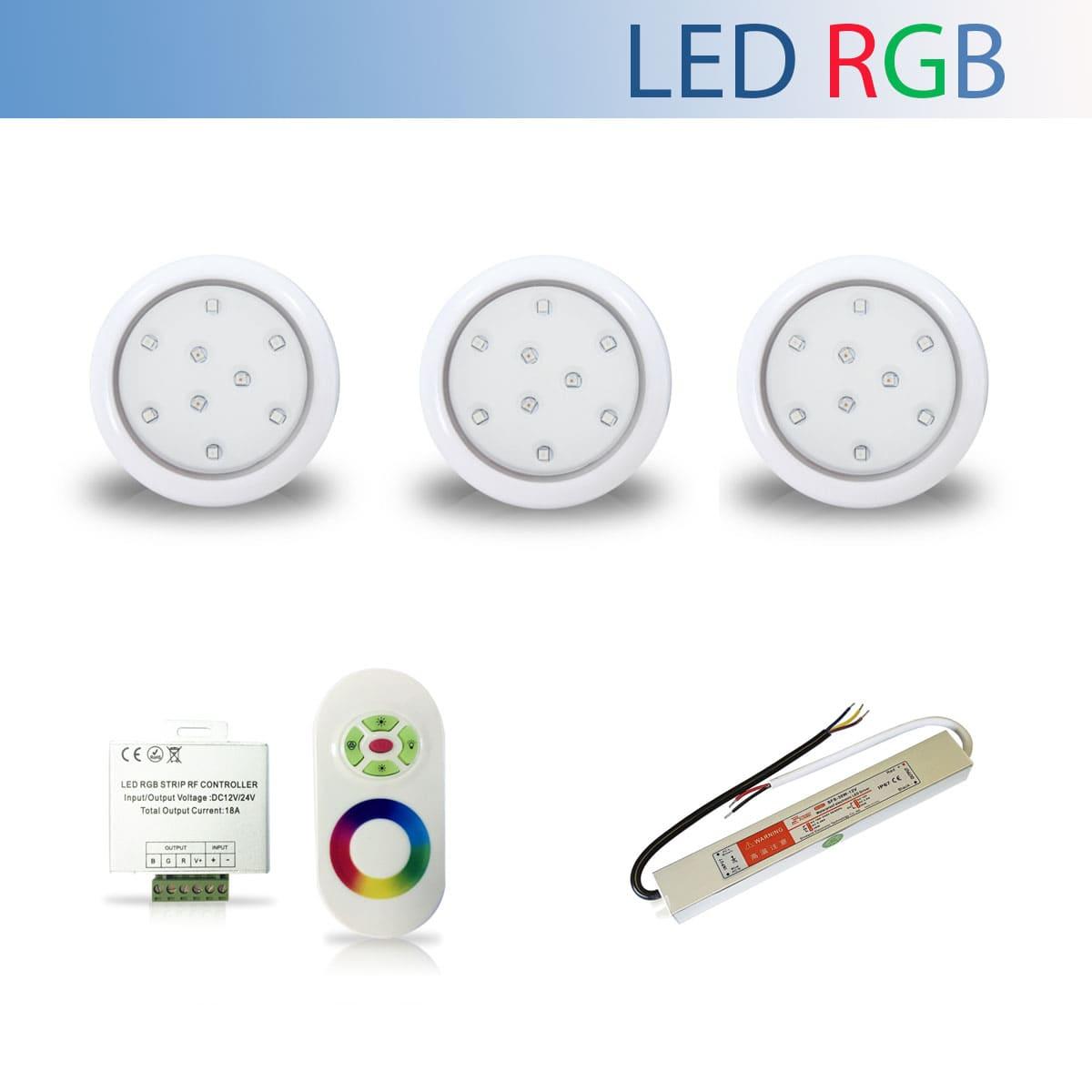 Kit 3 Luminária Led RGB para Piscina de 9W 80mm + Fonte Blindada IP67 de 36W + Controle RGB
