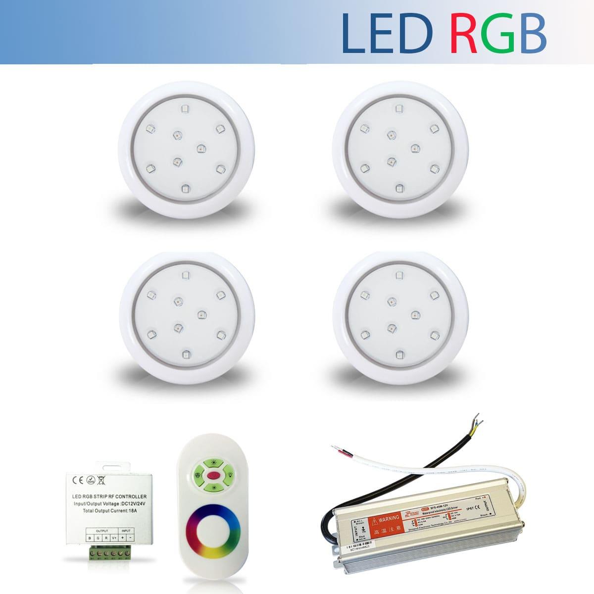 Kit 4 Luminária Led RGB para Piscina de 9W 80mm + Fonte Blindada IP67 de 60W + Controle RGB