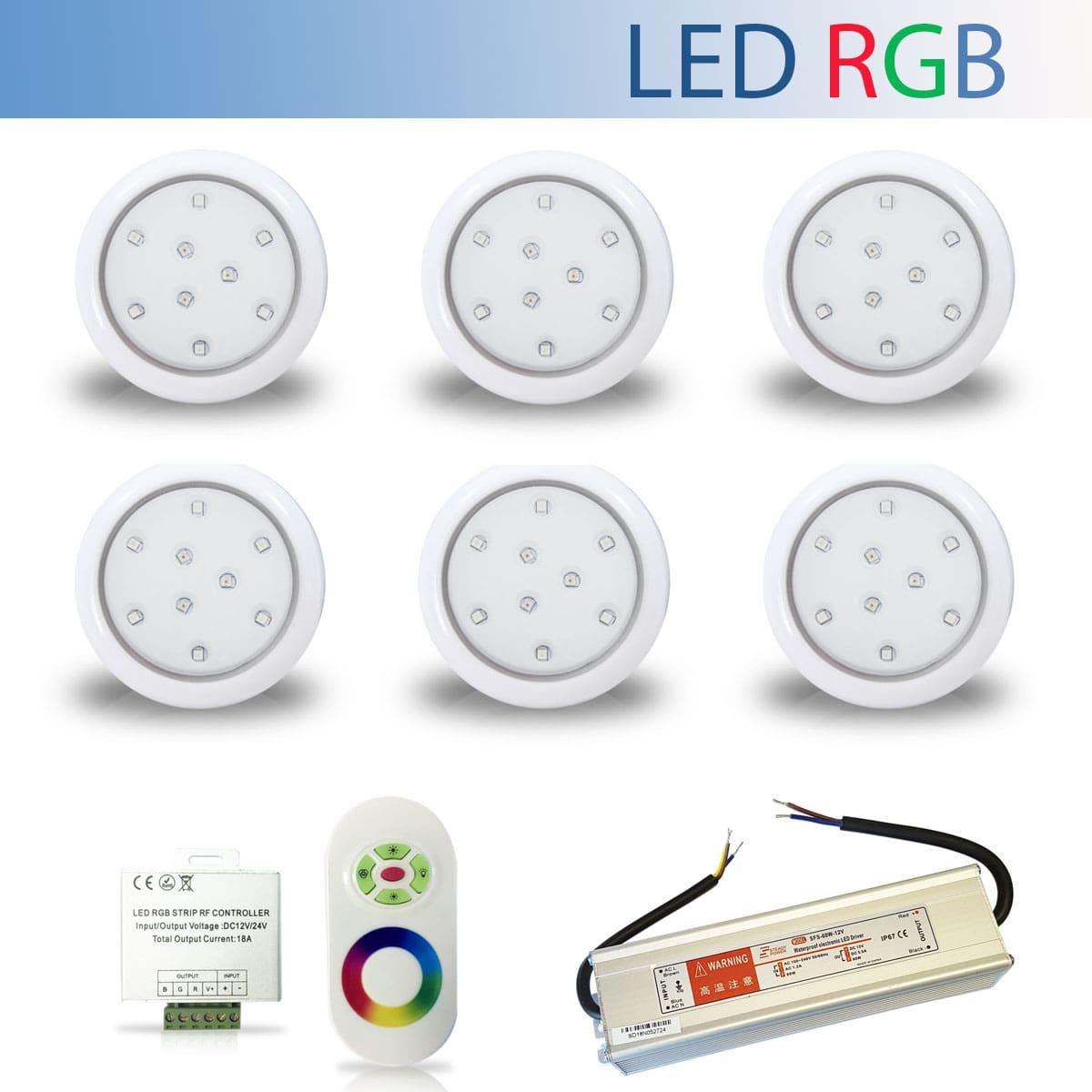 Kit 6 Luminária Led RGB para Piscina de 9W 80mm + Fonte Blindada IP67 de 60W + Controle RGB