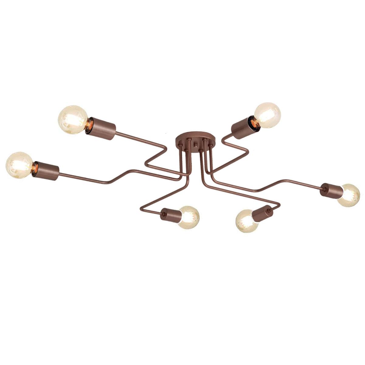 Plafon Decorativo Aranha Eletro 6 Braços -  Cobre
