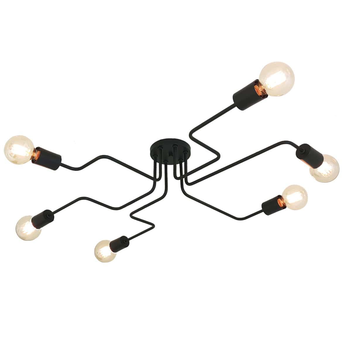 Plafon Decorativo Aranha Eletro 6 Braços -  Preto/Branco