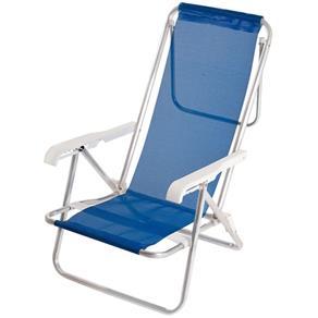 Cadeira de Praia  Alumínio 8 Posições Azul + Mesinha Grátis