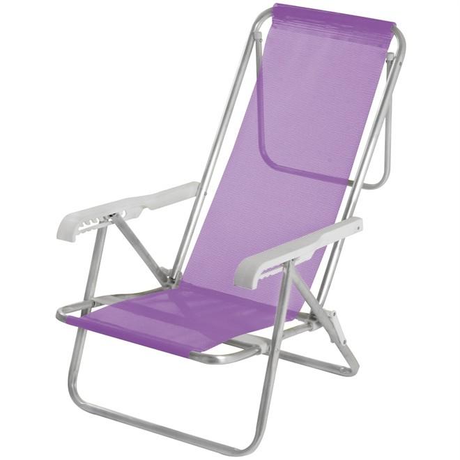 Cadeira de Praia  Alumínio 8 Posições Lilás + Mesinha Grátis