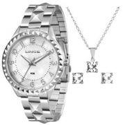 9846d96e8d3 KIT Relógio Lince Feminino Aço Prata Visor Madre Pérola LRM4380L + Brinde