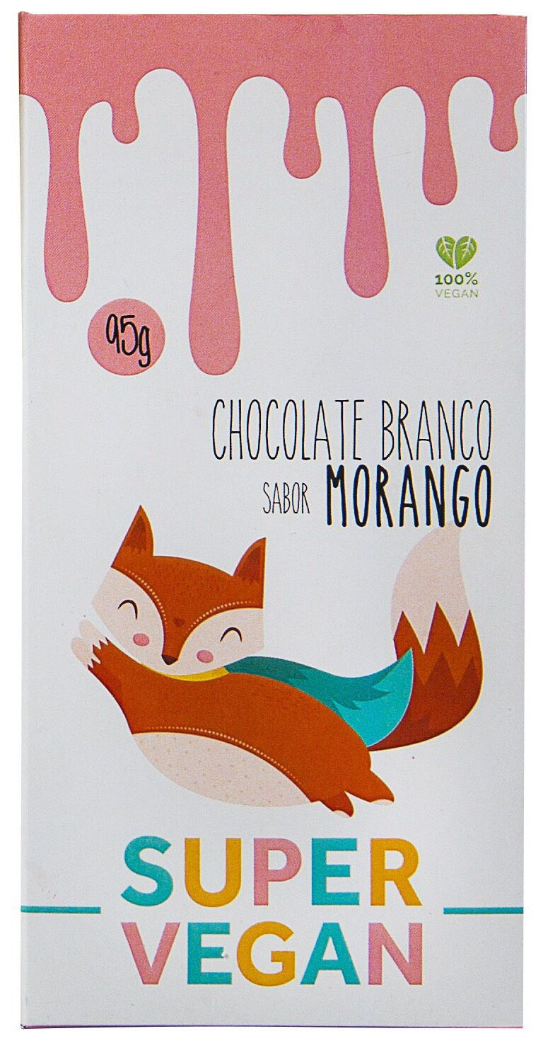 CHOCOLATE BRANCO COM MORANGO 95g - SUPER VEGAN