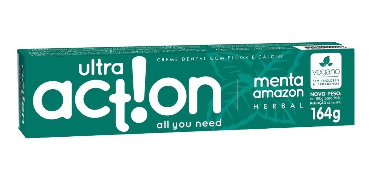 Creme Dental Vegano ULTRA ACTION Menta Amazon 164g