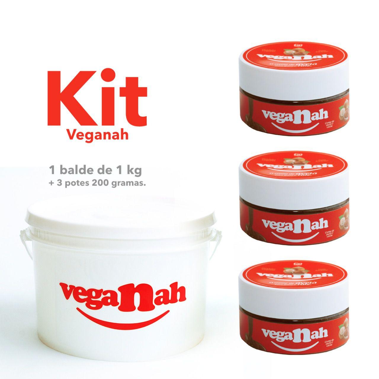 KIT PROMOCIONAL VEGANAH - 3 potes (200g) + 1 Balde (1kg)