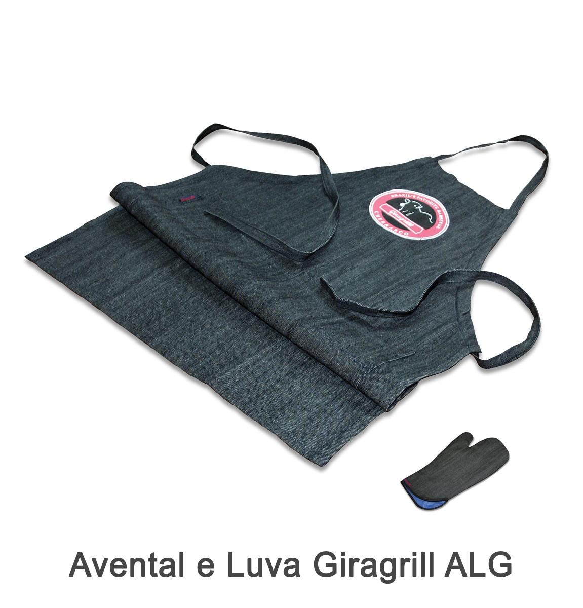 Avental e Luva Giragrill ALG + Pega Carvão PC-50 + Pega Fácil PF-40 + Acendedor de Carvão AC + Pá de Limpeza PL-1 Inox