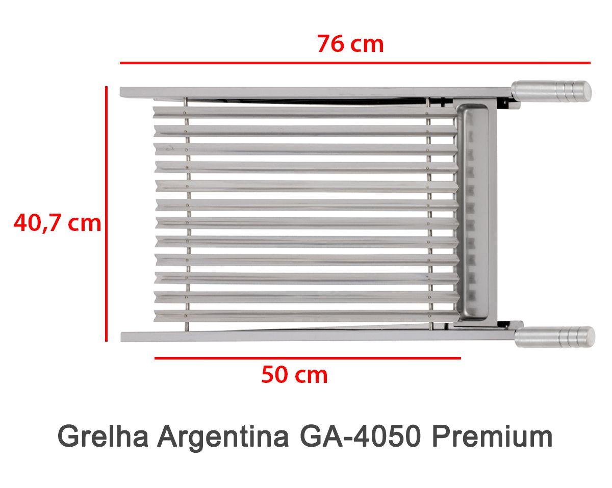 Grelha Argentina 4050 Premium + Pega Fácil PF-40 Inox + Pá de Limpeza PL-1 Inox