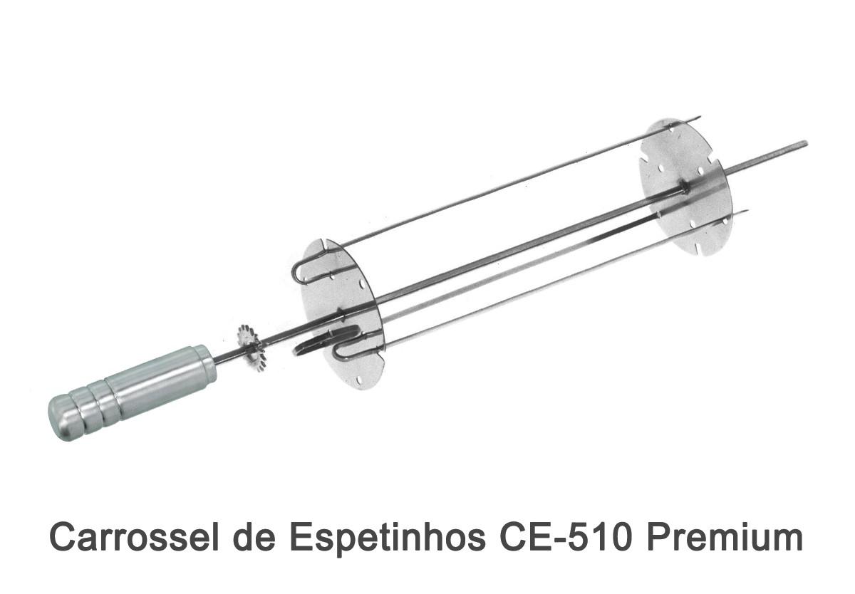 Pá de Limpeza PL-1 Inox + Carrossel de Espetinho CE-510 Premium + Pega Fácil PF-40 Inox + Espeto de Garras EG-510 Premium