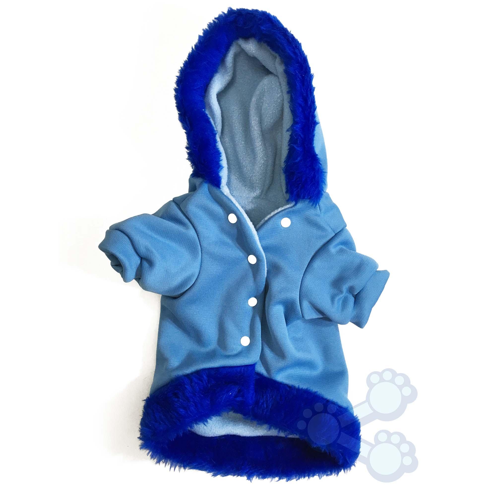 Famosos PetShare - Roupinha de Inverno para Cachorro Cães Blusa com Capuz Azul JY26