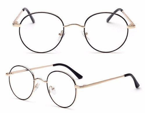 929f03bf04307 Óculos Redondo De Grau Metal Preto Com Dourado 1735 - Alex Milan 011 ...