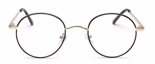a9388ad7a0fb6 Óculos Redondo De Grau Metal Preto Com Dourado 1735 - Alex Milan 011 ...