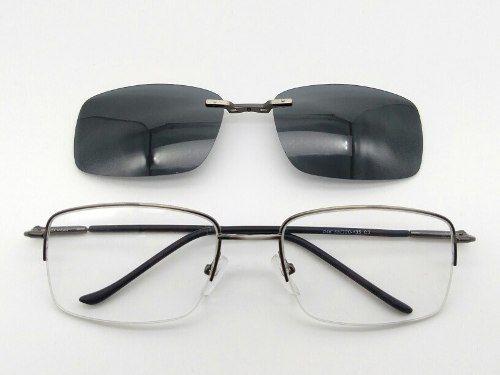 bb2beebbe6119 Óculos Armação Encaixe De Solar polarizada Clipon Metal Fino 046 03