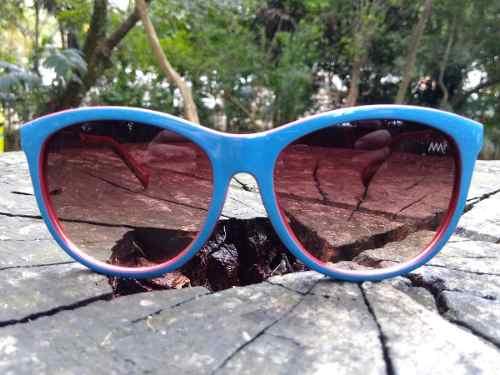 Óculos De Sol Acetato Azul Lentes Marrom Degradê 9043 A205 Alex Milan250 f2f706f360