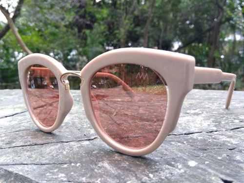 Oculos De Sol Feminino Bege Lentes Rose Leve Espelhada 1317 Alex Milan f410cd622b