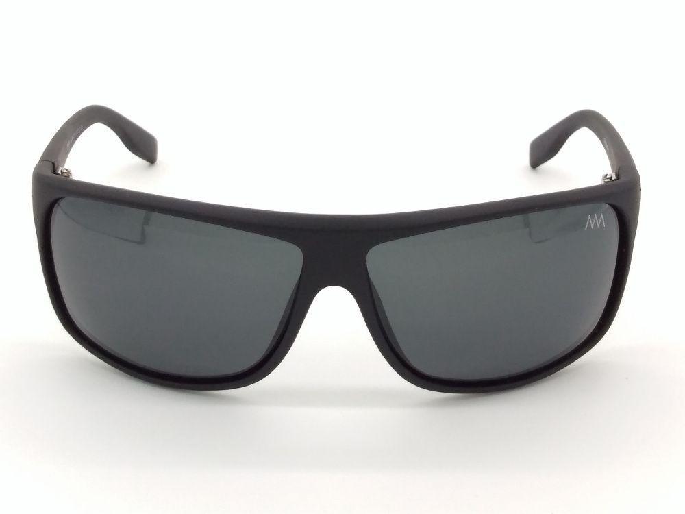 Óculos De Sol Preto Fosco Curvado Polarizada Cinza 16691 c6a78a412d