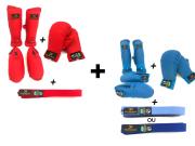 Kit com Protetor de Canela e Pé  + Protetor de Mão + Faixa Simples - Homologado pela CBK azul e vermelho