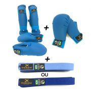 Protetor de Canela e Pé  + Protetor de Mão + Faixa Simples - Homologado pela CBK