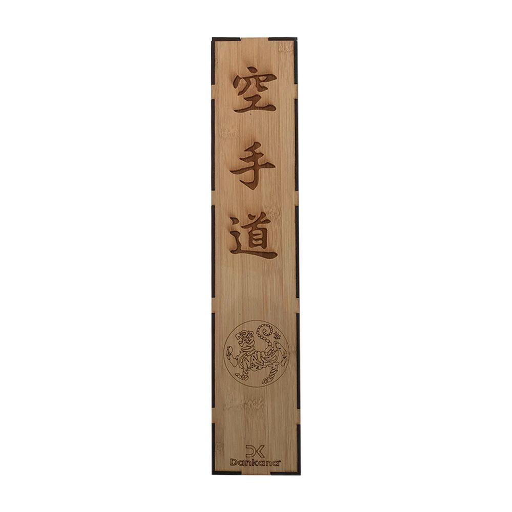Caixa de Bambu com Faixa Preta de Cetim Personalizada